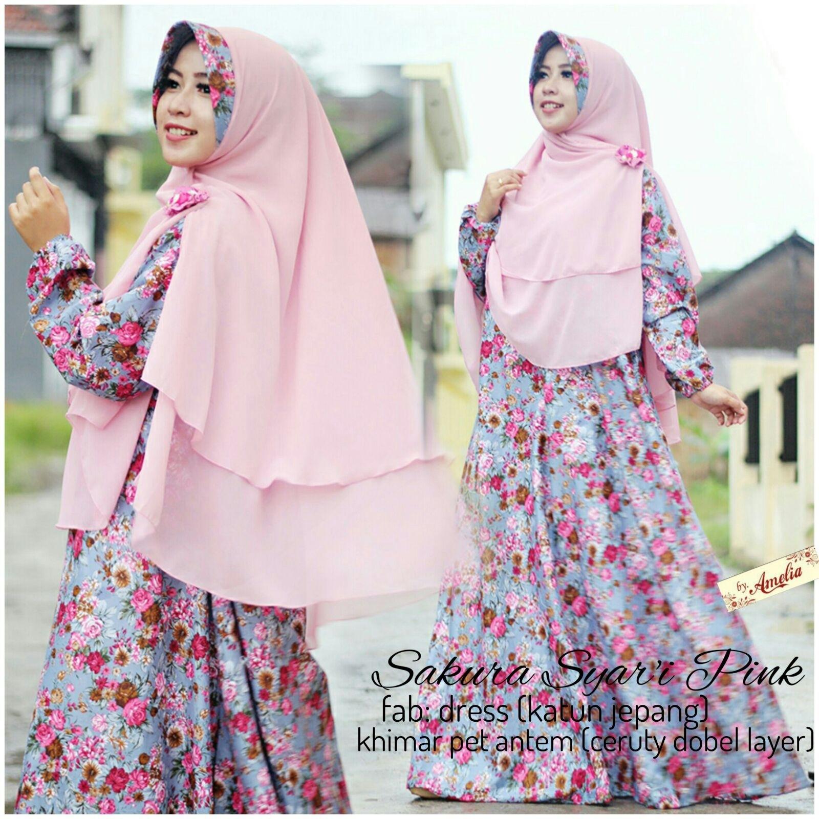 Baju Lebaran dengan Gamis Bermotif Bunga