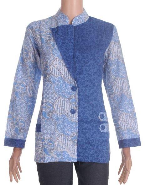 Atasan Baju Batik Wanita Lengan Panjang Kombinasi Embos