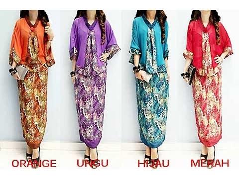 Baju Batik Long Dress Kombinasi Blazer Satin Terbaru Saat Ini