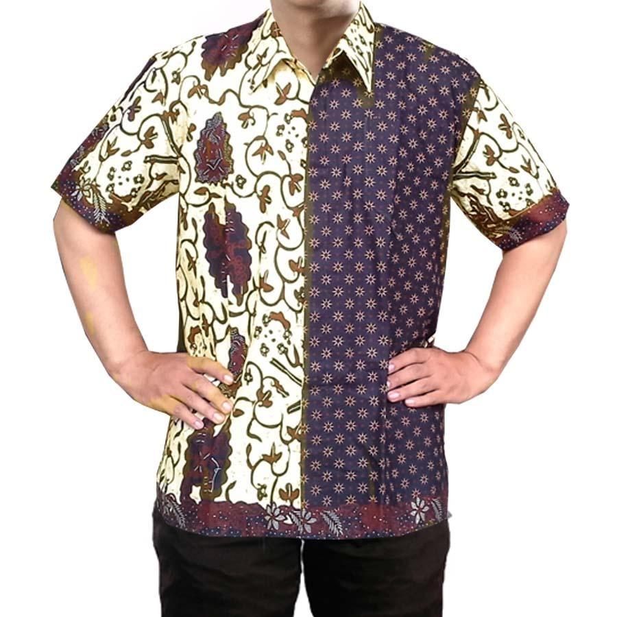 Baju Batik Pria Lengan Pendek dengan Motif Kombinasi