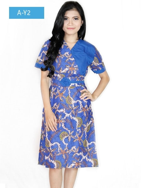 Dress Batik Lengan Pendek untuk Pesta Terbaru