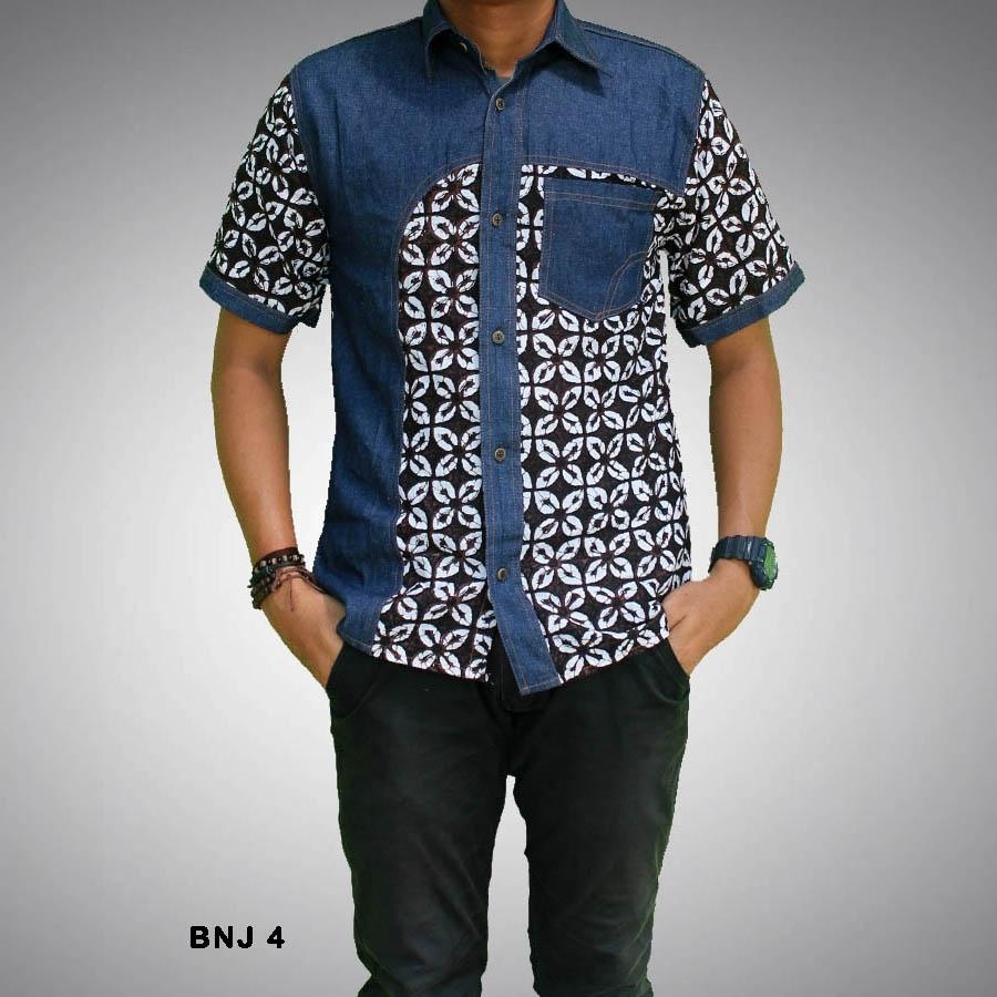 Kemeja Batik Pria dengan Motif Kombinasi Polos