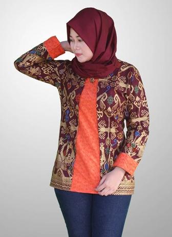 Model Baju Batik Modern dengan Kombinasi Embos Terbaik