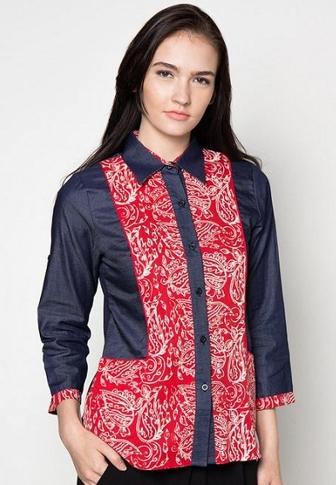 Model Baju Batik Atasan Kombinasi Terpopuler