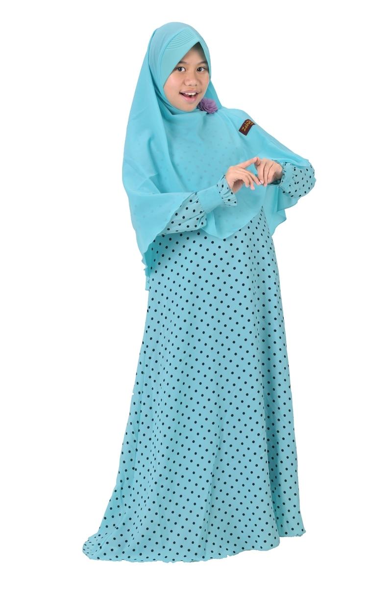 Model Baju Gamis Anak Perempuan Umur 12 Tahun Bermotif Polkadot