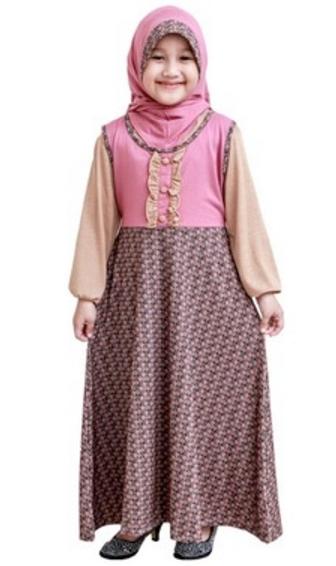 Model Baju Gamis Anak Perempuan Umur 12 Tahun Kombinasi Batik