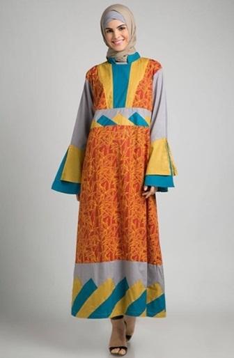 Model Baju Gamis Batik dengan Kombinasi Sifon Paling Elegan