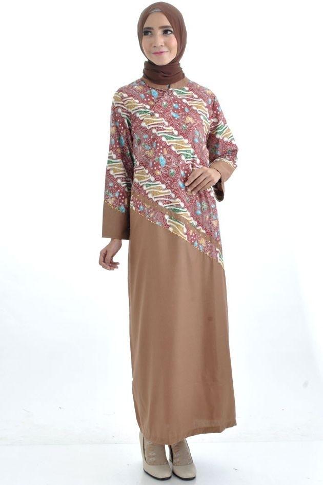 Model Baju Gamis Batik dengan Kombinasi Sifon untuk Acara Pesta