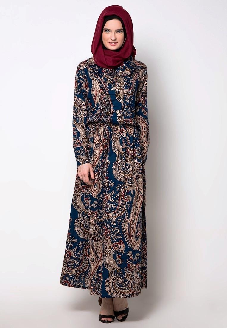 Model Baju Gamis Batik Kombinasi Kain Brokat Berdesain Elegan