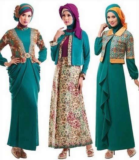 Model Baju Gamis Batik Kombinasi Kain Brokat Terpopuler
