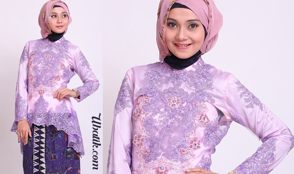 Model Baju Gamis Batik Kombinasi Kain Brokat untuk Anak Muda