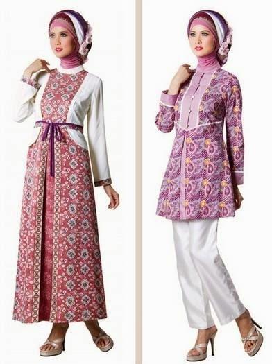 Model Baju Gamis Batik Kombinasi Kain Brokat