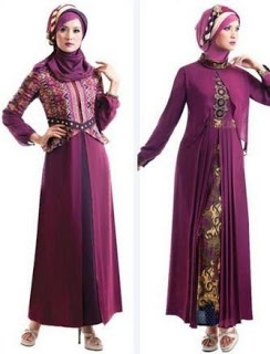 Model Baju Gamis Batik Kombinasi Polos Terbaik