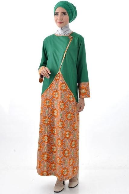 Model Baju Gamis Batik Kombinasi Polos Terbaru Tahun Ini