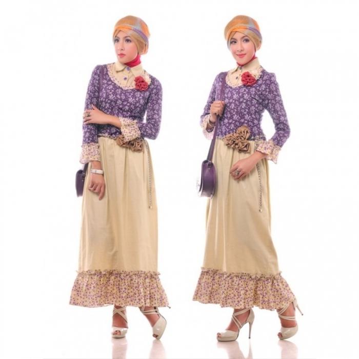 Model Baju Gamis Batik Kombinasi Polos Terkeren Tahun Ini