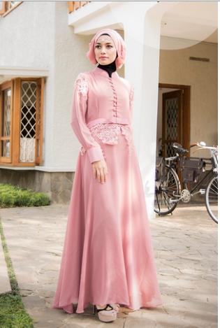 Model Baju Gamis Brokat Kombinasi Sifon Paling Bergaya