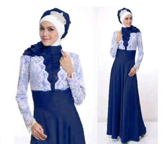 Model Baju Gamis Brokat Kombinasi Sifon untuk Wanita Muslimah