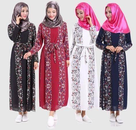 Model Baju Gamis Sifon Kembang Kombinasi Jilbab Pashmina