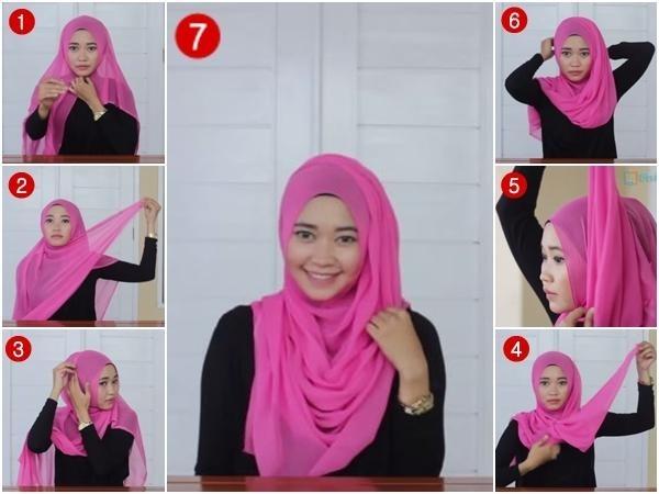 Tutorial Hijab Paris Segi Empat 5