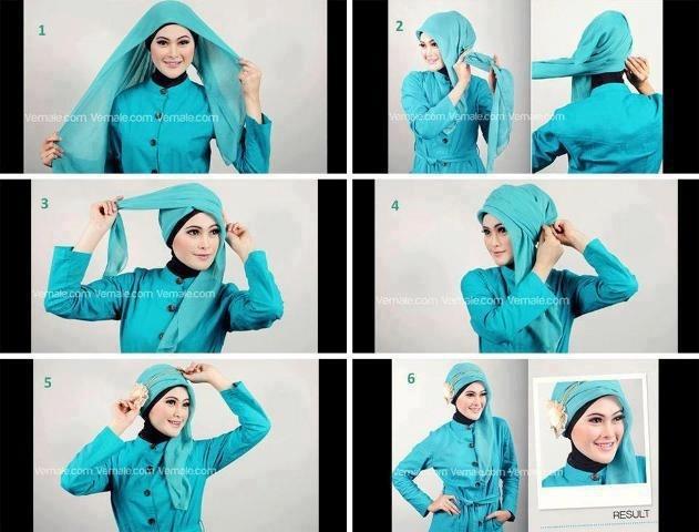 Tutorial Hijab Paris Segi Empat 6
