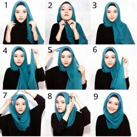 Tutorial Hijab Paris Segi Empat 9