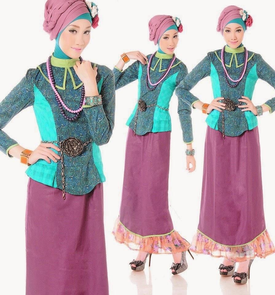 Model Baju Gamis Pesta Motif Batik Kekinian