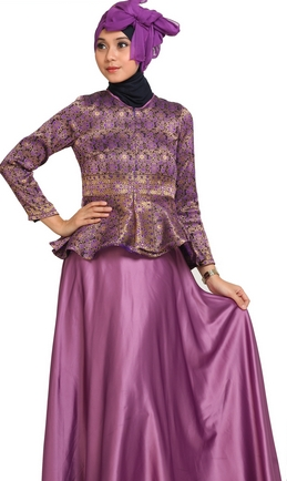 Baju Batik Kombinasi Satin untuk Wanita Berjilbab Terbaru