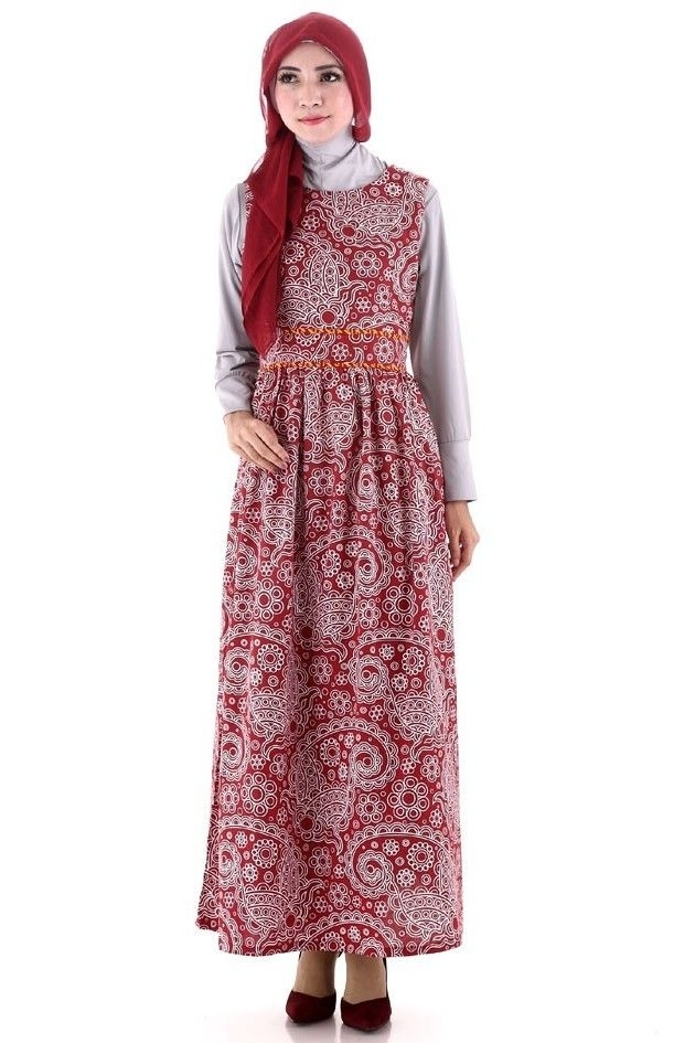 Model Baju Batik Muslimah Kombinasi Bergaya Gaun