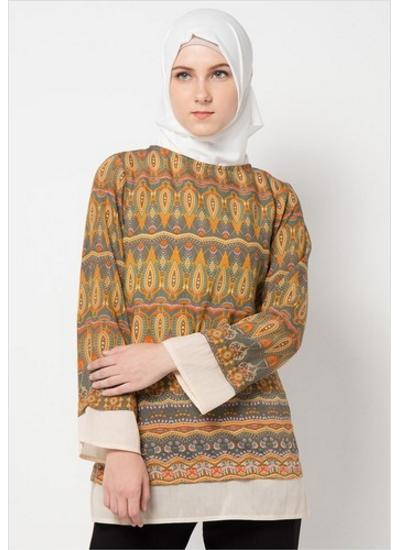 Model Baju Batik Muslimah Kombinasi Dengan Model Kaos