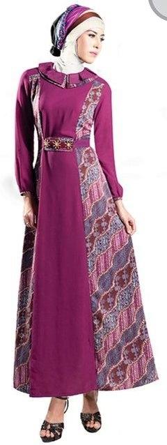 Model Baju Batik Muslimah Kombinasi Kain Polos