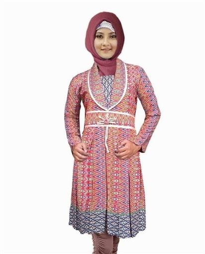 Model Baju Batik Muslimah Kombinasi Paling Modis