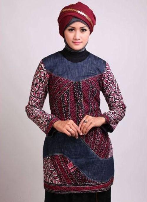 Model Baju Batik Wanita Muslimah untuk Seragam Kerja