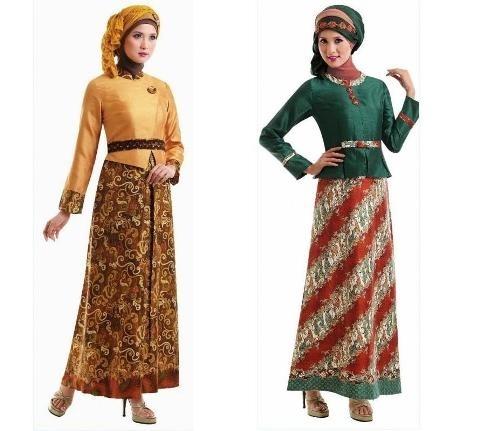 Model Busana Muslim Batik dengan Kombinasi Satin Terbaru
