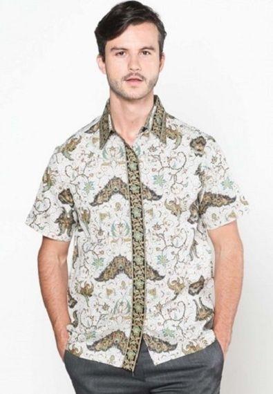 Model Baju Batik Kerja untuk Guru Pria Lengan Pendek Terbaru