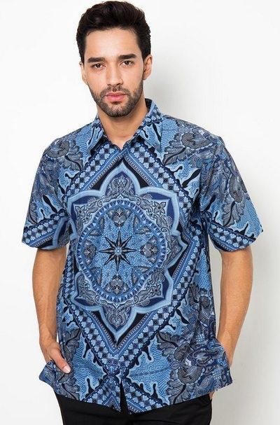 Model Baju Batik Kerja untuk Guru Pria Lengan Pendek Terpopuler