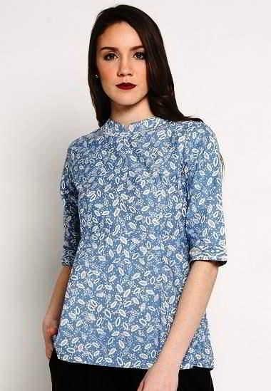 Model Baju Batik Pegawai Bank Perempuan Lengan Pendek