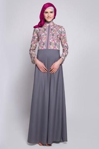 Model Baju Gamis Batik dengan Kombinasi Sifon