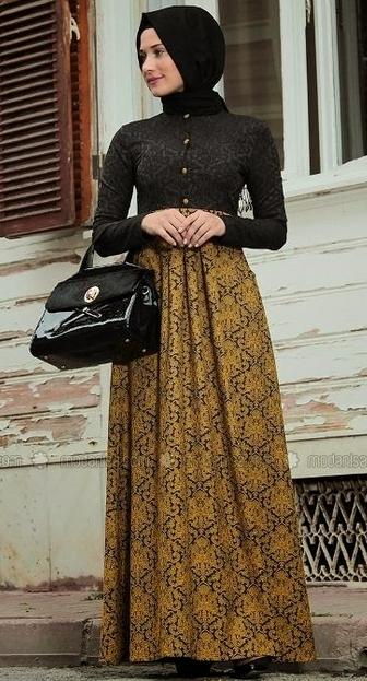 Model Baju Gamis Batik Kombinasi Kain Brokat Bergaya FOrmal