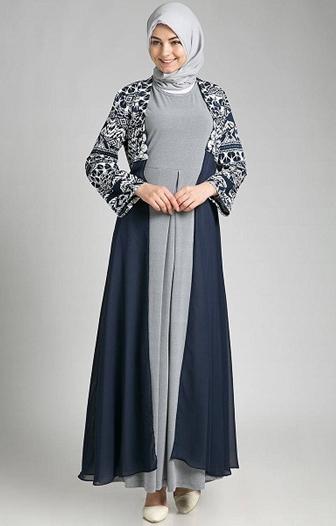Model Baju Gamis Batik Kombinasi Polos Terkeren