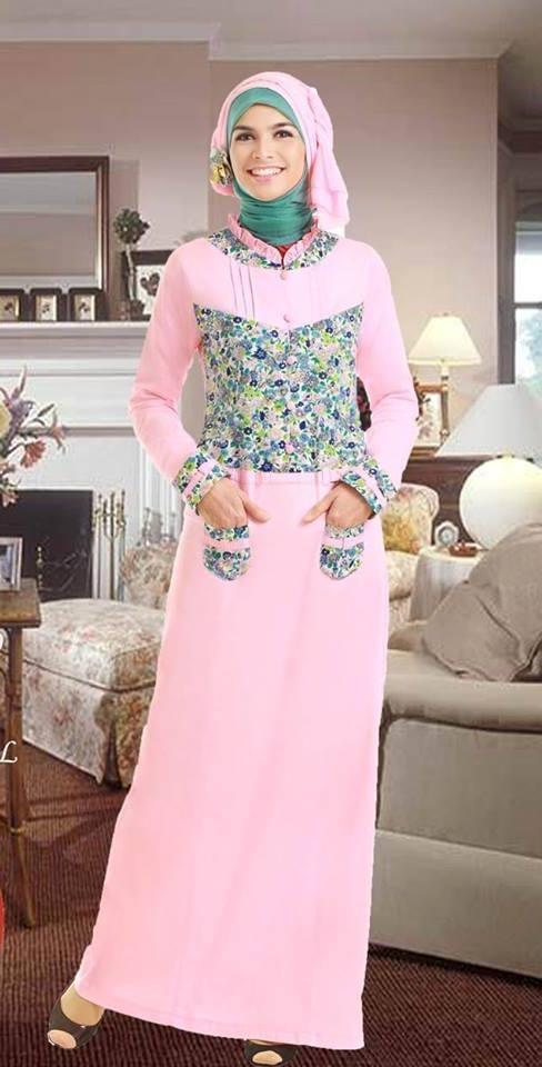 Model Baju Gamis Batik Kombinasi Polos untuk Wanita Muda