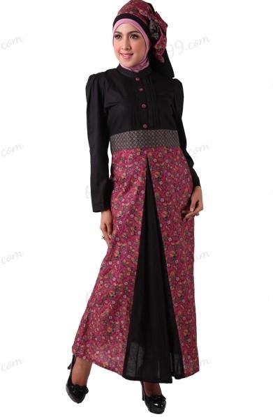 Model Baju Gamis Batik Kombinasi Polos untuk Wanita Muslimah