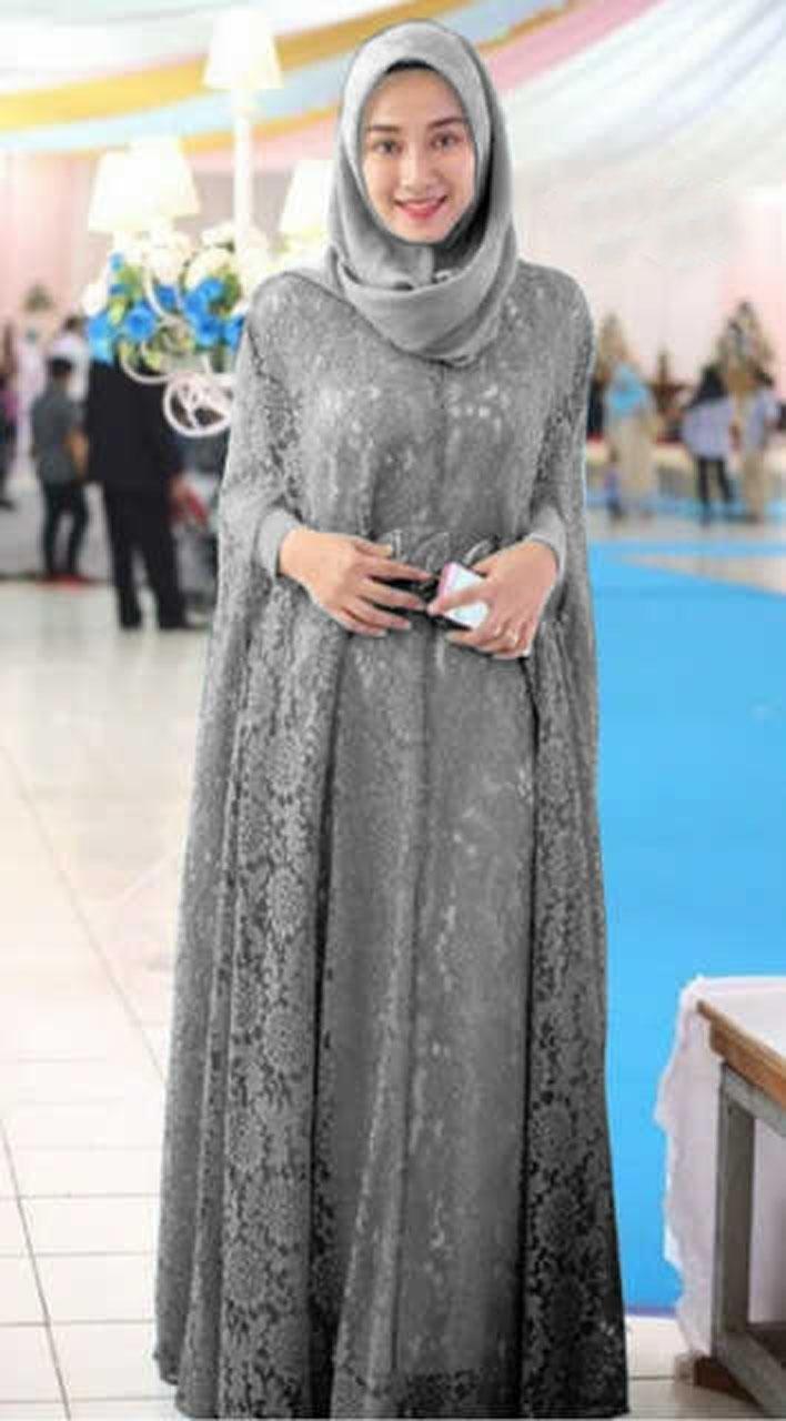 Model Baju Gamis Brokat untuk Wanita Gemuk