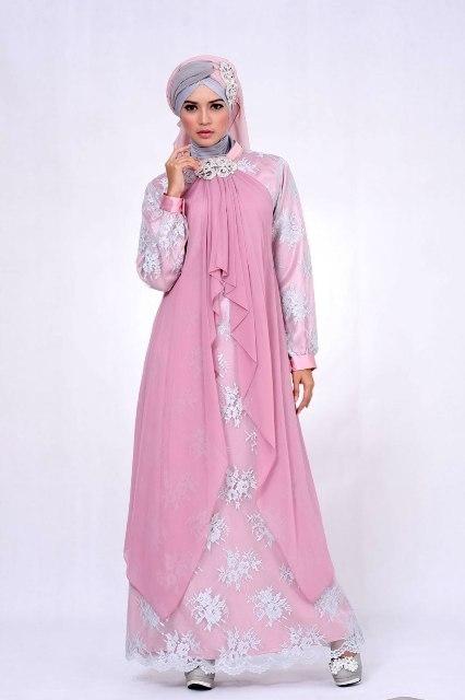 Model Baju Gamis Sifon Kembang Cocok untuk Pesta