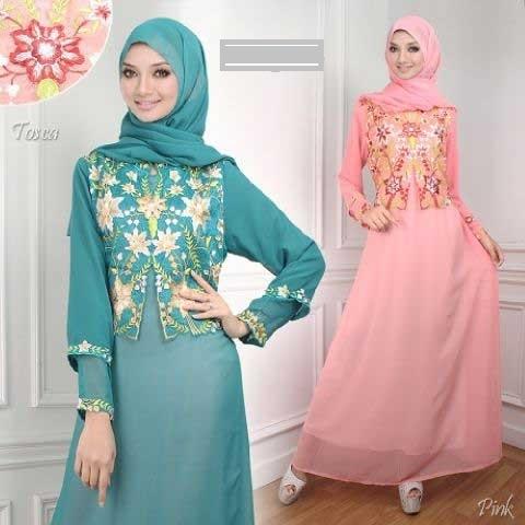 Model Baju Gamis Sifon Kembang dengan Desain Sederhana
