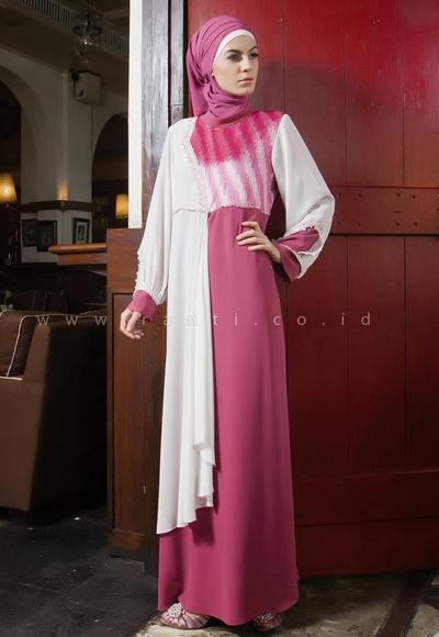 Model Baju Gamis Sifon Polos dengan Perpaduan 2 Warna