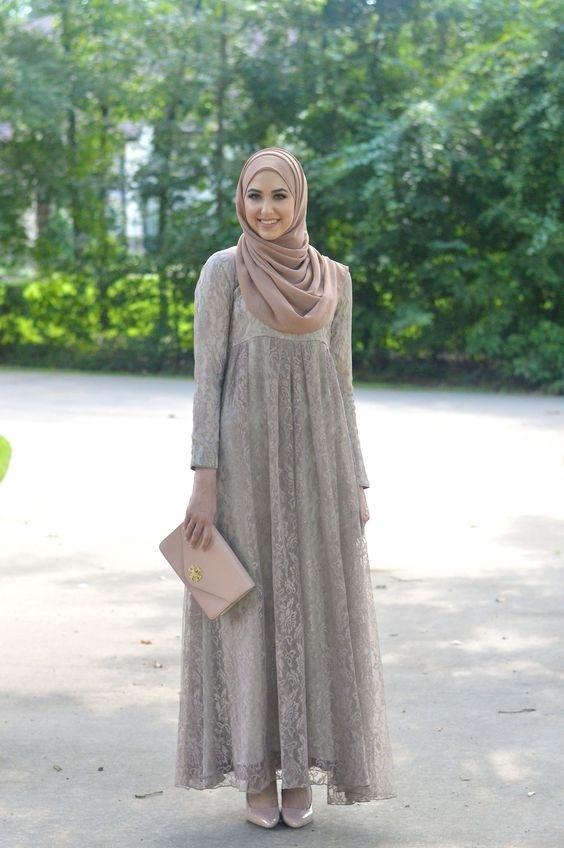 Model Baju Gamis Sifon Polos untuk Wanita Gemuk