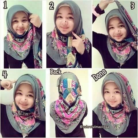 Tutorial Hijab Paris Segi Empat 3